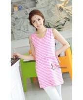 Nursing Tops - JP Singlet Long - Stripe Pink