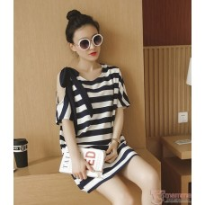 Nursing Tops - Stripe Ribbon Black White