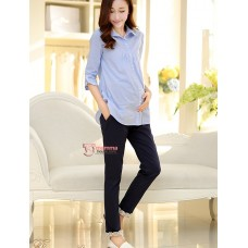 Maternity Pants - Working Korean Lace Dark Blue