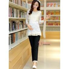 Maternity Pants - Working Korean Lace Black