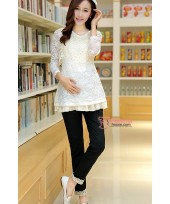 Maternity Pants - Working Korean Lace Black