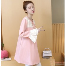 Maternity Blouse - Ribbon Bell Sleeves Pink