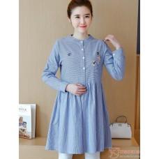 Maternity Tops - Kitten Stripe Blue Blouse Long
