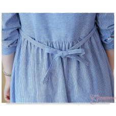 Maternity Tops - Kitten Stripe Blue Blouse Long