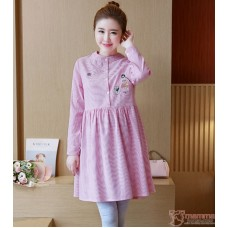 Maternity Tops - Kitten Stripe Pink Blouse Long
