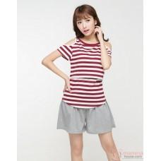 Nursing Tops - Strapless Stripe Maroon Red