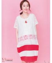 Nursing Dress - Chiffon White Red