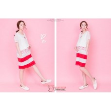 Nursing Dress - Chiffon White Red