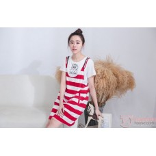 Nursing Dress - 2pcs Strap Dress Red