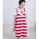 Nursing Dress - 2pcs Strap Dress Red