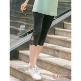 Maternity Capri Legging - V Lace Short Black