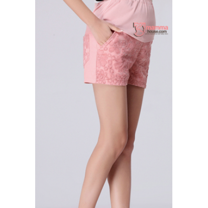 Maternity Shorts - Korean Lace Pink Shine
