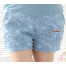 Maternity Shorts - Korean Lace Blue