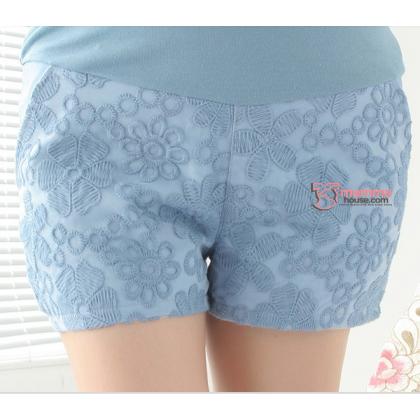 Maternity Shorts - Korean Lace Blue