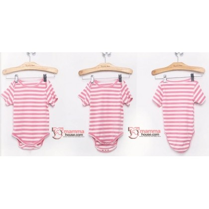 Nursing Set - Stripe Light Pink Short (plus baby romper)