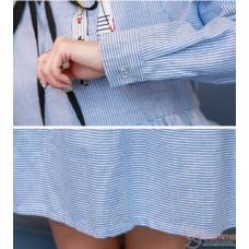Maternity Dress - Long White Collar Red