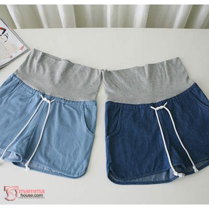 Maternity Shorts - String Jeans Dark Blue