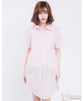 Nursing Dress - Side String Stripe Pink
