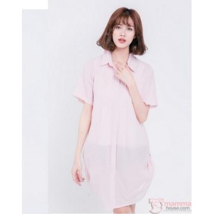 Nursing Dress - Side String Stripe Pink