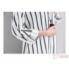 Nursing Dress - Long Stripe Black