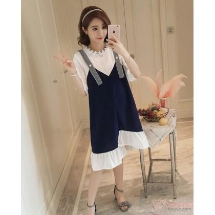 Maternity Dress - Strape Stylish Lace Dark Blue