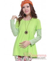 Nursing Tops - Long Sleeves Stripe Green