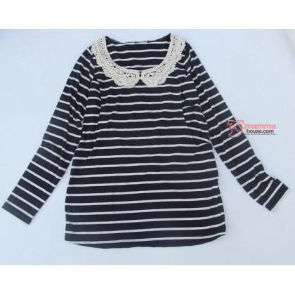 Nursing Tops - Long JP Lace Stripe Black