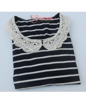 Nursing Tops - Long JP Lace Stripe Black