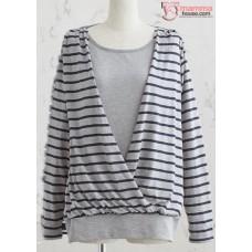 Nursing Tops - Long JP Stripe Grey