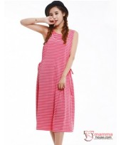 Nursing Dress - Long Singlet Dress Ribbon (3 colors)