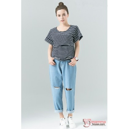 Nursing Tops - Stripe White Dark Blue