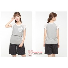 Nursing Tops - Lace Sleeves Grey