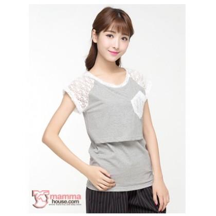Nursing Tops - Lace Sleeves Grey