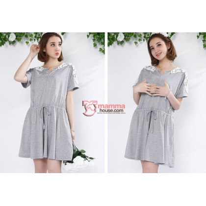 Nursing Dress - Shoulder Lace (Grey or Dark Blue)