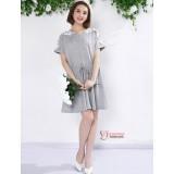 Nursing Dress - Shoulder Lace (Grey or Dark Blue)
