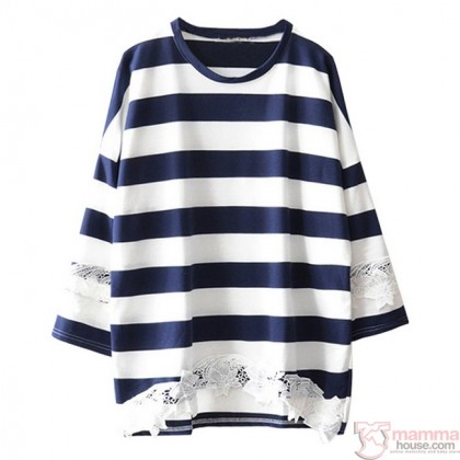 Nursing Tops - Long Blouse Flower Stripe