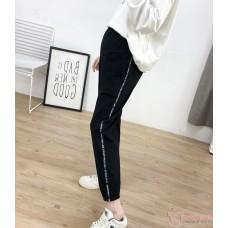 Maternity Pants - Long Letter Cotton Black