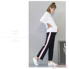 Maternity Pants - side Pink Boot Cotton Pants