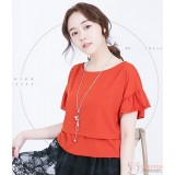 Nursing Tops - Lotus Sleeves Orange Red