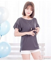 Nursing Tops - Lotus Sleeves Grey