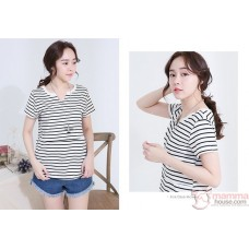 Nursing Tops - Stripe V Black