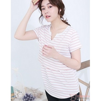 Nursing Tops - Stripe V Pink