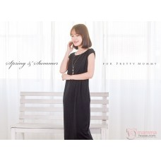 Nursing Dress - Long Simple Black