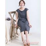 Nursing Dress - Long Simple Dark Grey