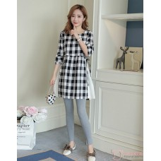 Maternity Blouse - Long Grid Black
