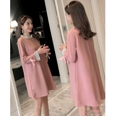 Maternity Blouse - Long Chiffon Lace Pink