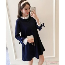 Maternity Blouse - Long Chiffon Lace Dark Blue