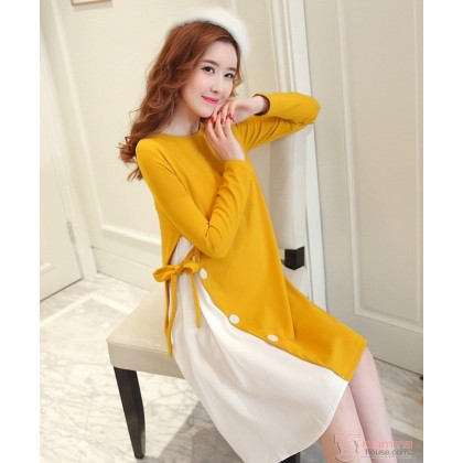 Maternity Blouse - Long Stylish Yellow