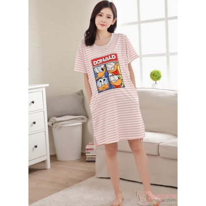 Mamma Pajamas Dress - Donald Stripe Red