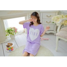 Mamma Pajamas - Dress Love Pink Short Purple